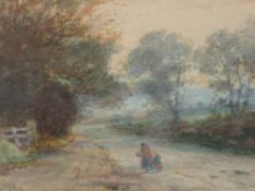 A watercolour, attributed to Robert Rampling, country lane, initialled, 14 x 19cm, plus frame and