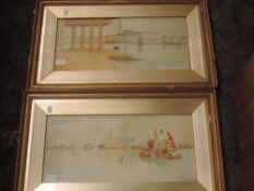 A pair of watercolours, R B Wright, Grand Canal Venice, signed and dated, 1907, 29 x 52cm,plus frame