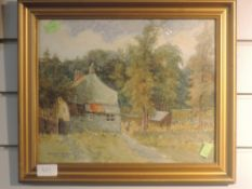 A watercolour, H S Crossland, farmstead, signed and dated 1917, 27 x 33cm, plus frame and glazed