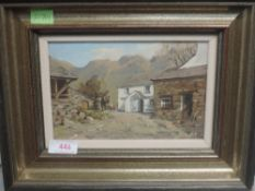 An oil painting on board, R Martin Tomlinson, Yew Tree Farm, signed and attributed verso, 12 x 18cm,