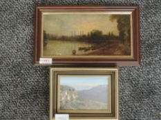 An oil painting on board attributed to W G Reynolds, The Thames at Hammersmith, attributed verso, 12