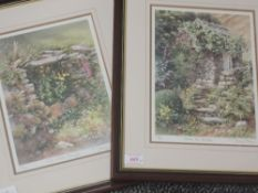 A pair of Ltd Ed prints, after Judy Boyes, Old Water Trough, num 491/850, and Down the Garden, num