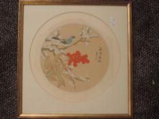 A silk fabric painting, circular, Oriental bird amidst foliage, 30cm dia, plus frame and glazed