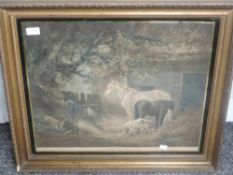 A print, after George Morland, Feeding the Pigs, 45 x 55cm, plus frame and glazed
