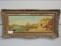 An oil painting on board, Cruz, Continental harbour scene, 13 x 34cm, plus frame
