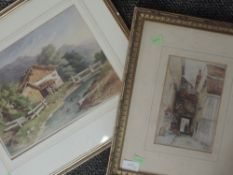 A watercolour, PRB, Alpine chalet, initialled and dated (19)22, 23 x 32cm, and a print after