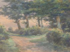 A watercolour, attributed to Robert Rampling, country lane, initialled, 11 x 15cm, plus frame and