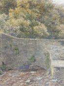 A watercolour, Robert Rampling, river Bridge, signed, 44 x 30cm, plus frame and glazed