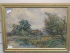 A watercolour, S Grant Rowe, Surrey farmstead and mill pond, signed, 35 x 49cm, plus frame and