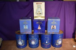 Eight Wade Bells Scotch Whisky Decanters, all aged 8 years, all royalty interest, Queen Mother 90th,