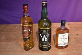 A bottle of Vat 69 Finest Scotch Whisky 40% vol 1 Litre, a bottle of Grants Blended Scotch Whisky