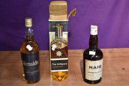 Three bottles of Blended Scotch Whisky, The Antiquary 70 Proof 26 2/3 Fl Ozs in box, low level, John