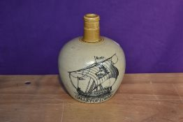 A Port Dundas Glasgow Pottery Whisky Flagon having Galley Of Lorne decoration