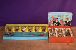 A HR Rosco Product set of 6 Whiskey Tot Glasses decorated with various Whisky including Black &