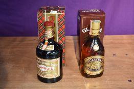 A bottle of Drambuie Liqueur 40% vol 1 litre in card box and a bottle of Glayva Scotch Liqueur 700ml