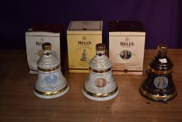 Six Wade Bells Scotch Whisky Decanters, aged 8 years, Great Scottish Inventors series, James Watt,