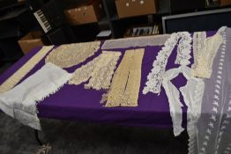 A varied lot of antique lace,tatting,tulle and fine embroidered items,including trims, shawl and