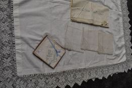 A selection of vintage and antique items including crotchet edged table cloth(some damage to section