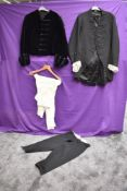 A collection of gents antique clothing including tailcoat with lace ruffled cuffs and navy blue