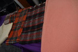 A selection of vintage travel rugs and similar, also included is a modern Bronte tweeds rug.