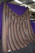 An Indian cotton 90X100' fringed length of striped fabric.