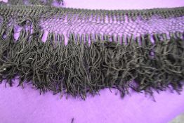 A collection of antique black lace,ribbon and trimmings, also a lace shawl/partial bodice,AF.