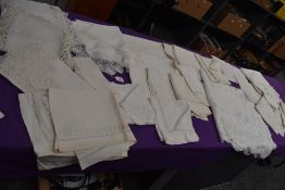 A good amount of vintage and antique table linen, some embroidered items and others with crotchet