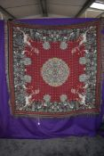 A Metrax-crape Flemish tapestry wool hanging or throw having floral and animal pattern on red