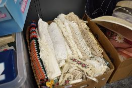 A selection of crotchet work and woolen throws