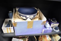 A selection of jasper ware by Wedgwood most pieces being boxed including deep blue footed bowl