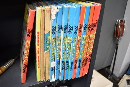 Twelve copies of the childrens annual the Beano and similar Dennis the Menace comic book