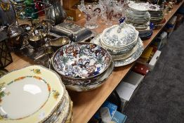 A large selection of plates and tureens including crown ducal and Victoria etc