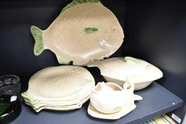 A selection of fish themed ceramics by Shorter and Sons including large charger and gravy boat