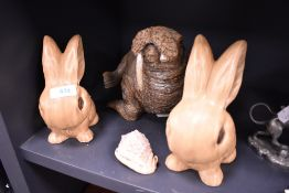 Two mid century figures of rabbits by Sylvac and a walrus figure AF