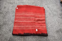 A vintage shawl or throw wool woven with two tone colour