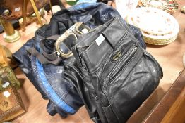 A good selection of vintage motor cycle leathers and accessories including Lewis leathers one