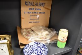 A selection of ceramics inclduing boxed Royal Albert Old Country Roses cake stand