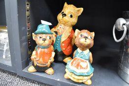 Three chalk ware Pendelfin style figures of beavers