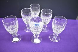 A set of Waterford crystal 'Coleen' port or sherry glasses.