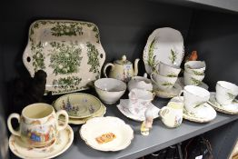 A selection of tea wares including cups and saucers and cake plates including Masons, Adderley and