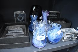Four Caithness vases and similar glass wares including Alstom paper weights