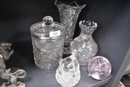 A selection of crystal clear cut glass including biscuit jar and vase etc