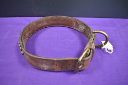A large vintage dog or pet collar leather and brass studded inscribed with 'To my faithful pal