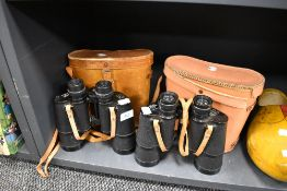 Two sets of binoculars including Horizon 7x50 and Chiyoko 10x50 both having leather cases