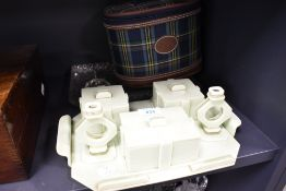 An early plastic dressing table set in an art deco design with similar