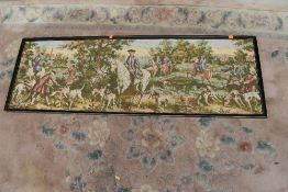 A vintage tapestry panel, classic hunting scene, approx. 145 x 49cm, in Hogarth style frame