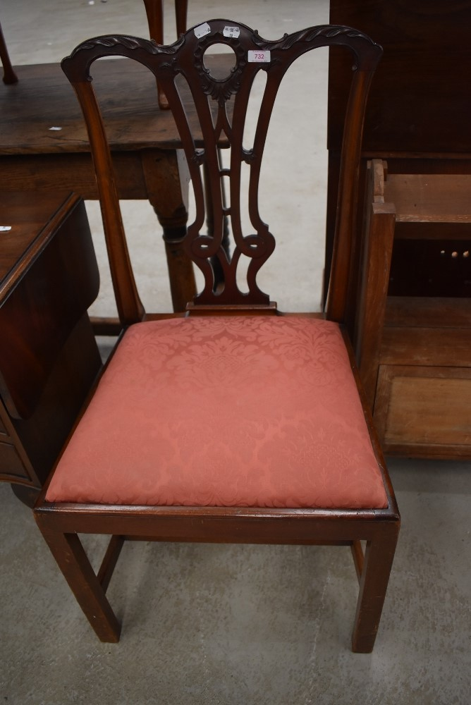 A late 19th or early 20th Century Chippendale style dining chair