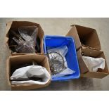 Five boxes of assorted items including vintage chandelier, Industrial, Office , implements and heavy
