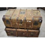 Two vintage luggage trunks