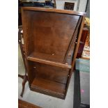 A vintage oak and ply bookcase (not stacking) with glass sliding doors, height approx. 144cm,